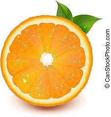Půlka pomeranče s kapkou vody