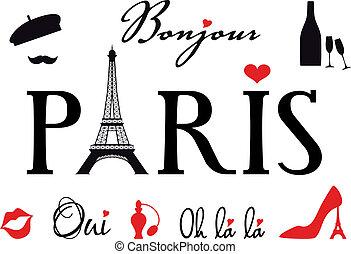 paříž, dát, vektor, eiffel ohromný