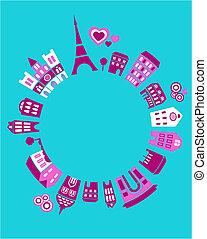 paříž, společnost, vektor, -, ilustrace