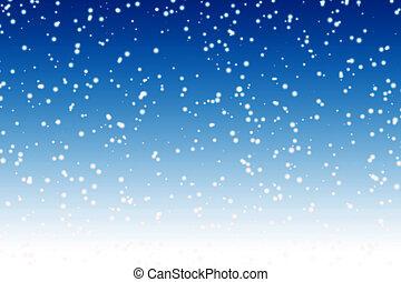Padající sníh nad nočním zimním nebem