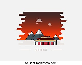 pagoda, hora, vektor, grafické pozadí, ilustrace
