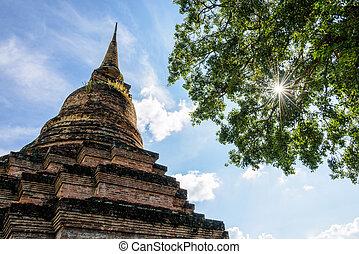 pagoda, thajsko, starobylý