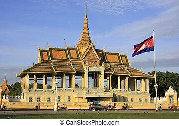 palác, královský, pavailion, kambodža, melouchařit, penh, phnom