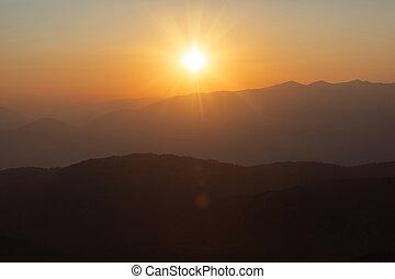 panoráma, hory, sunset.