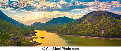 panoráma, sunset., jezero, krajina, názor