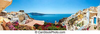 panoráma, vesnice, santorini, oia, ostrov