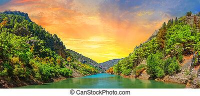 panoráma, západ slunce, hory, jezero