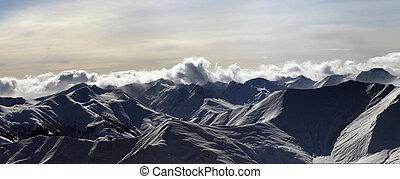 panoráma, západ slunce, hory