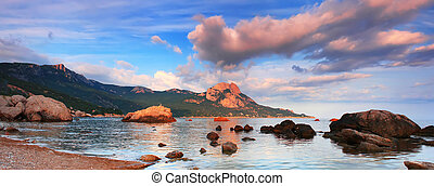 panoráma, západ slunce, moře
