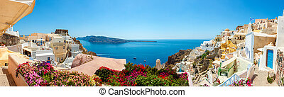 Panorama z vesnice santorini
