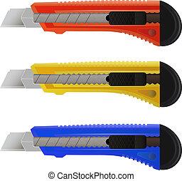 papírnictví, barvitý, nůž, grafické pozadí, dát, neposkvrněný