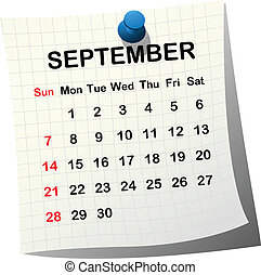 Papírový kalendář na september