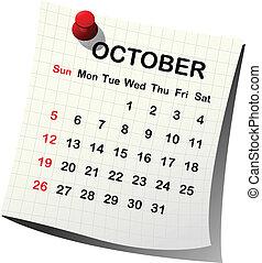 Papírový kalendář pro october
