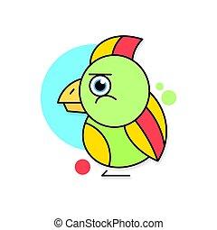 papoušek, ilustrace, vektor, grafické pozadí, emblém, neposkvrněný