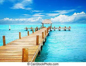 paradise., obratník, mujeres, prázdniny, molo, mexiko, isla
