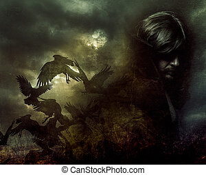 Paranormální, muž s dlouhými vlasy a černým kabátem