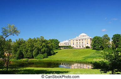 pavlovsk, sad, kopec, palác