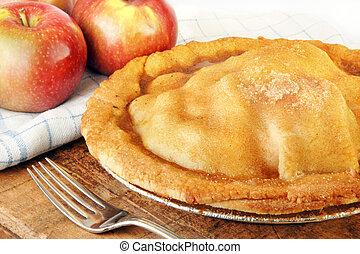 pečený, jablko, čerstvě, straka