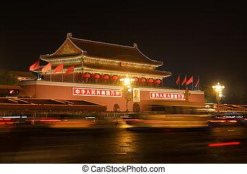 Pekingské záchodové náměstí v noci