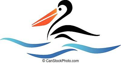 pelikán, vektor, pláž, ptáček, emblém
