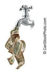 peníze, kohoutek