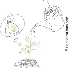 peníze, zalévání, strom, rukopis, konzerva, lidský, mince