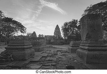 phimai, park., ancient., klasický, destinations., pohybovat se, neposkvrněný, mezník, ratchasima, poloha, architecture., thailand., čerň, krajina, starobylý, nakhon, dějinný, khmer, stavení., historický, chrám