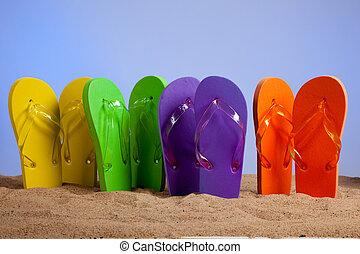 pláž, barvitý, kotrmelec, sandles, písečný