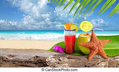 pláž, hvězdice, koktejl, obrazný, kokosový ořech