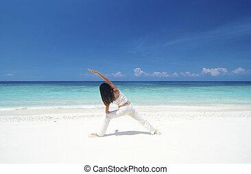 pláž, jóga