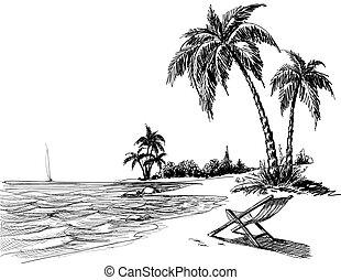 pláž, kreslit, léto, kreslení