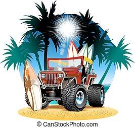 pláž, vůz, vektor, 4, karikatura