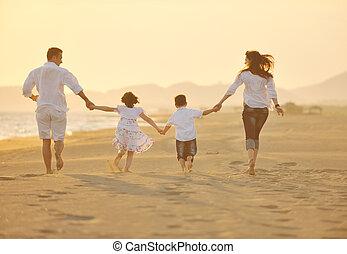 pláž, západ slunce, rodina, šťastný, žert, dostat, mládě