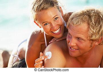 pláž, zdařilý kuplovat, mládě