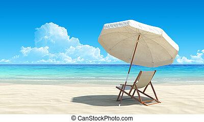 Plážní křeslo a deštník na idylické pláži