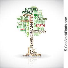 plakát, abstraktní, ekologie, -, strom