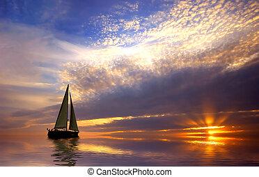 Plavání a západ slunce