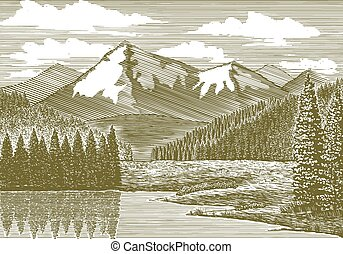 Po řece Woodcut