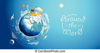 Po celém světě. Pouťový vektor ilustrace