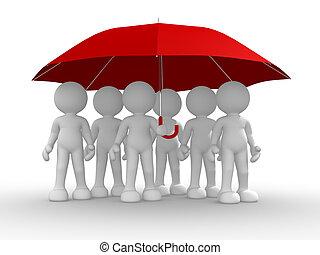 pod, deštník, národ, skupina
