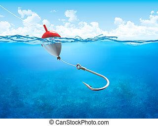 Podlaha, rybářská linka a hák pod vodou