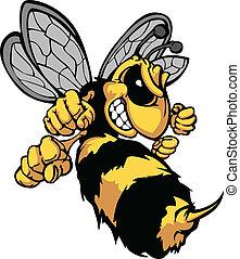 podoba, vektor, karikatura, sršeň, včela