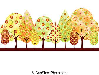 podzim, abstraktní, strom, pohled