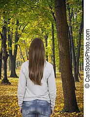 podzim, chůze, manželka, les