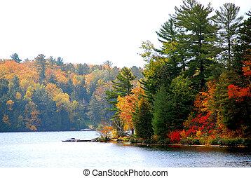 podzim, jezero