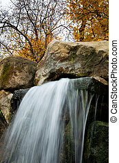 podzim, led, praha, odhalení, malý, dlouho, vodopád
