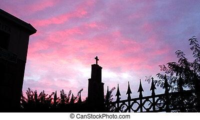 podzim, nebe, církev