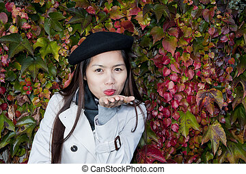 podzim, překrásný eny, polibek