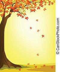 podzim, strom, grafické pozadí
