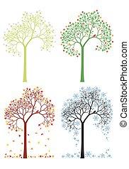 podzim, zima, strom, pramen, léto